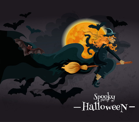 Spooky Halloween Party Invitation Banner. Witch With Red Hair ...