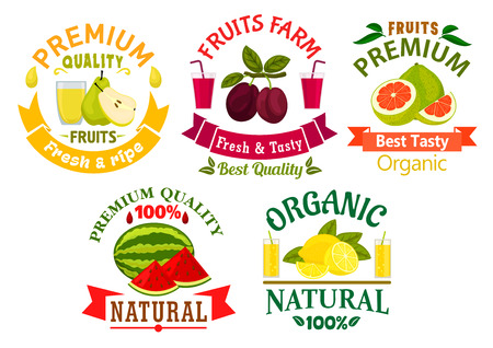 adorned: Natural organic fruits badges with fresh lemon, grapefruit, plum, pear, watermelon fruits with glasses of juice, adorned by green leaves and ribbon banners