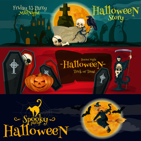 coffins: Cartoon Halloween party vector banners and posters with greeting and ivitation text. Friday 13 gravestone, Horror Night coffins and skeletons, Spooky Halloween witch on broom and black cat, midnight moon, bats silhouettes Illustration