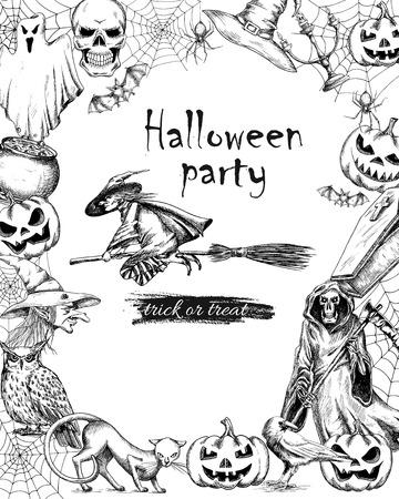 brujas caricatura: cartel de la vendimia línea de dibujo vectorial para Halloween. Bosquejado vieja bruja volando en la escoba a la fiesta con el marco de decoraciones de Halloween negro cráneo, tela de araña, la muerte, la calabaza. estilo de impresión de papel retro