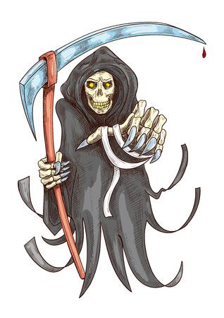guadaña: Reaper de muerte en traje con la guadaña. Halloween horror miedo sombrío con agarrando la mano estirada. dibujo icono de color para el elemento de decoración de tarjetas de felicitación, carteles, pancartas, libros