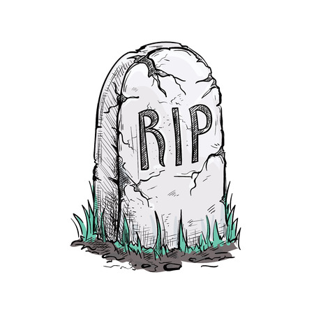 grave stone: Scary cracked tomb grave stone on cemetery. Halloween vector sketch isolated design element for decoration