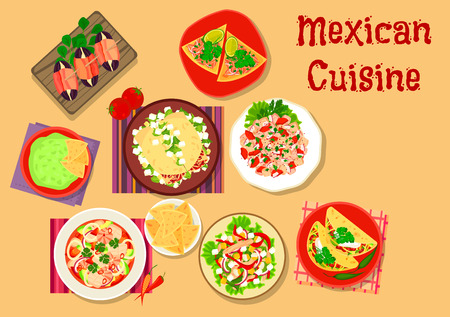 dinner date: Mexican cuisine spicy salad and snack icon with guacamole with nacho, beef tortilla, chorizo salad taco, bacon date tapas, seafood salad, salmon ceviche on tortilla, meat and vegetable salads