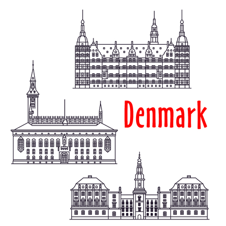 danish: Symbolic travel landmarks of Denmark icon with Copenhagen City Hall on the City Hall Square, palatial complex Frederiksborg Castle, government building Christiansborg Palace, thin line style