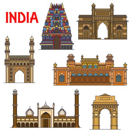 Travel bezienswaardigheden van de Indiase architectuur pictogram met dunne lijn India Gate, hindoes Minakshitempel, Gateway of India, islamitische moskee Jama Masjid moskee Charminar, koninklijk paleis Chowmahalla Stock Illustratie