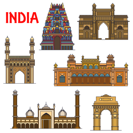 Travel landmarks of indian architecture icon with thin line India Gate, hindu Meenakshi Amman Temple, Gateway of India, islamic mosque Jama Masjid, mosque Charminar, royal palace Chowmahalla Иллюстрация