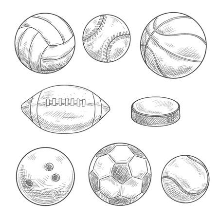 Balones De Deporte Y Bocetos De Hockey Sobre Hielo Puck Con El ...