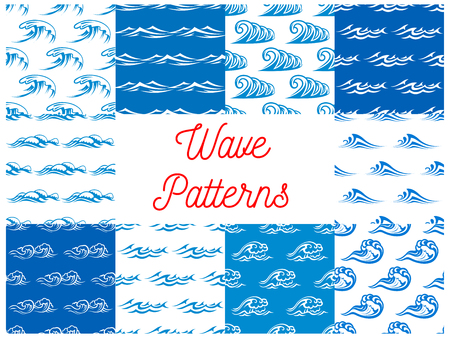 billowing: Blue waves seamless pattern set with blue and white waterscape of stormy ocean and sea with billowing waves. Nature theme, marine travel or summer vacation design
