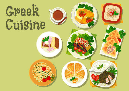 garlic bread: Greek cuisine lunch dishes icon with meat stew, garlic bread, stuffed grape leaf, tzatziki sauce, fish roe salad, eggplant roll, almond cake, beef and feta pie and honey cake with ice cream