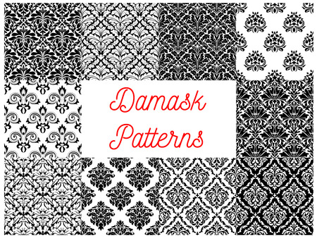 arabesque: Damask pattern set of black and white seamless background with floral arabesque ornaments. Interior textile print or wallpaper design Illustration