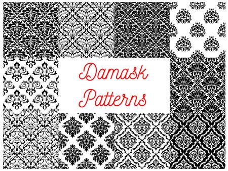 arabesco: modelo del damasco conjunto de fondo sin fisuras en blanco y negro con adornos arabescos florales. Interior de impresión textil o diseño de papel tapiz Vectores