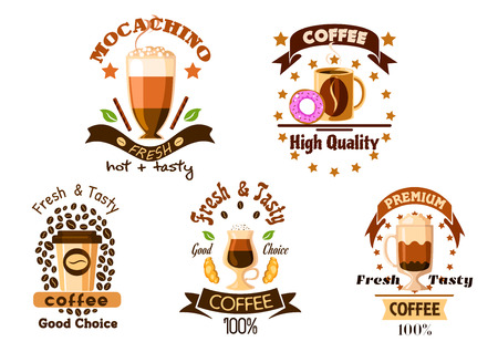 mocha: Coffee drinks badges with mug of americano, espresso takeaway cup and glasses of cappuccino, latte and mocha with whipped cream, croissant, donut, coffee beans, ribbon banners and stars