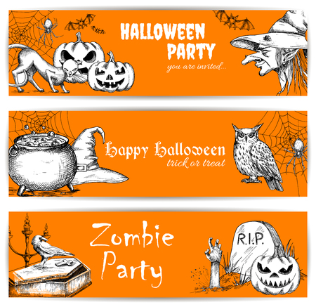 night owl: Halloween celebration orange banners with text and sketched pumpkins, old witch hat, coffin on graveyard, night owl, zombie hand. Templates for greeting and invitation cards for celebration