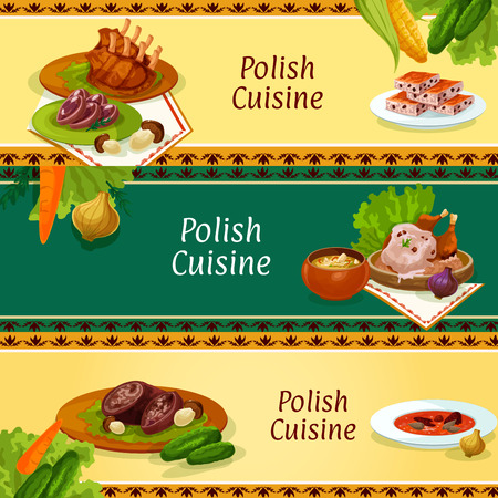 vegetable soup: Polish cuisine restaurant menu banners set with traditional baked duck with mushroom sauce, sauerkraut soup, pork ribs, beet soup, meat stew bigos, beef roll with bacon, headcheese and nut cookie Illustration