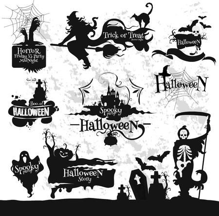 spooky: Decoration emblems and icons set for Halloween party, Friday 13 horror midnight. Witch broom, spooky ghost, spider, skeleton scythe, graveyard, haunted house, scary pumpkin. Vector design elements for banner, placard, greeting card