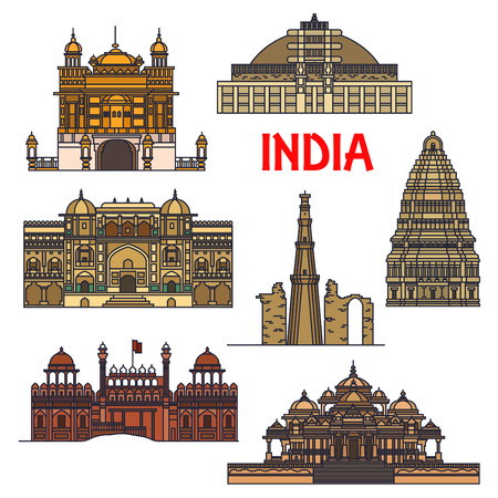 buddhist stupa: Travel landmarks of indian architecture thin line icon with minaret Qutub Minar, buddhist Great Stupa, Red Fort, sikh Golden Temple, Virupaksha Temple and Swaminarayan Akshardham temple complex