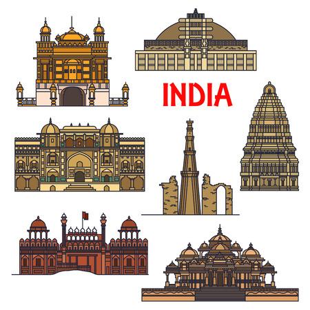 minaret: Travel landmarks of indian architecture thin line icon with minaret Qutub Minar, buddhist Great Stupa, Red Fort, sikh Golden Temple, Virupaksha Temple and Swaminarayan Akshardham temple complex