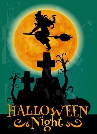 Spukschloss Silhouette Und Vollen Orange Mond Halloween-Plakat ...