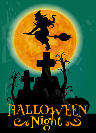 Witch on broom flying to Halloween night party over scary graveyard cemetery with cross and tombs. Invitation, greeting card, placard design template with text