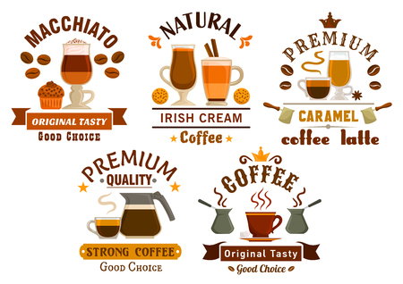 mocha: Cafe and coffee shop badges set with cups of espresso, cappuccino, caramel mocha, irish cream, turkish and chocolate macchiato with coffee pots, beans, cupcake, cookie and ribbon banners
