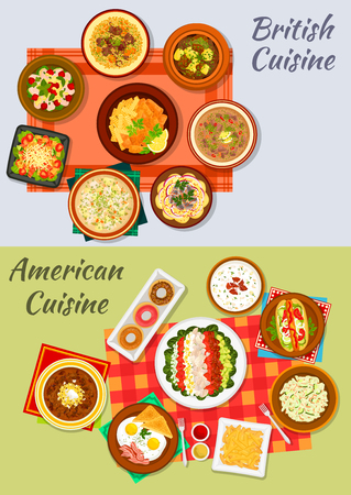british cuisine: American and british cuisine dishes icon with fast food hot dog, fries, fish and chips, donut, fried egg with bacon, vegetable salads, irish stew, kidney and chowder soups, baked beans and lamb