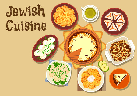 casserole: Jewish cuisine dinner menu icon of chickpea falafel, fish pancake with cheese, gefilte fish balls, meat dumpling, potato casserole, pancake latke, cottage cheese cake and coconut pyramid