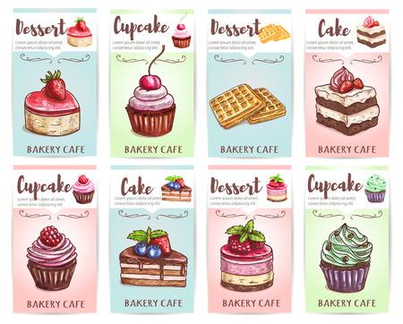 magdalenas: Torta, magdalena, mollete de la galleta y banderas conjunto de postres de pastelería con crema, chocolate, cereza dulce, fresa, frambuesa, fruta de arándanos. panadería y cafetería de diseño