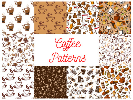 wafer: Coffee drink seamless patterns set with brown coffee cup, pot, cake, chocolate and cupcake. Food and beverage packaging design