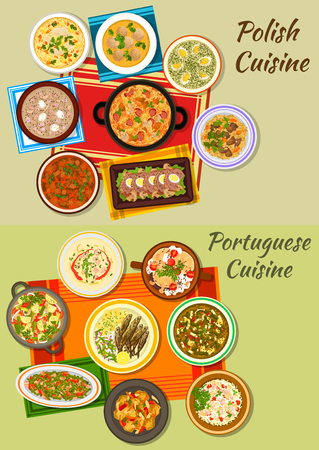 dumpling: Polish and portuguese cuisine menu icon with meat and vegetable stews, cabbage and rye soups with sausage, dumpling, fried sardine, fish paella, meatloaf, vermicelli and sorrel soups, beef goulash