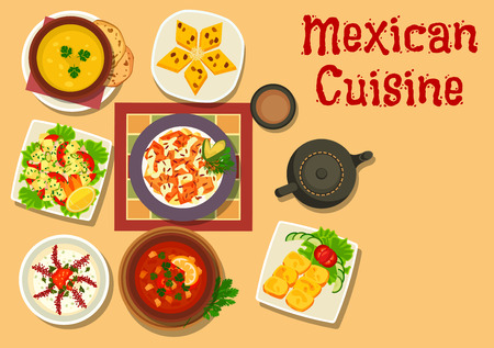 Mexican cuisine authentic dishes icon of chilli salsa bean soup, vegetable salad with cheese, corn bread, chicken with vegetable, pumpkin soup, bread pudding with raisins, creamy onion soup Иллюстрация