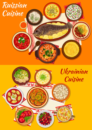 russian cuisine: Russian and ukrainian cuisine icon with beet soup borscht, meat dumpling, thin pancake with caviar, vegetable stew, salad and soup, beef stroganoff, baked fish, fish soup and chicken aspic Illustration