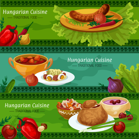 Hungarian cuisine restaurant menu banners with set of traditional sausage, meat and pepper stew, beef goulash, vegetable salad with salami and egg, onion soup in bread bowl, cherry soup