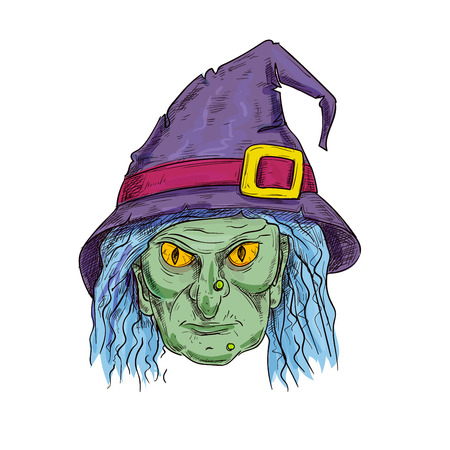 Old witch with ugly face in purple sorcerer hat and blue hair. Halloween cartoon sorceress hag head vector sketch isolated icon for decoration design element