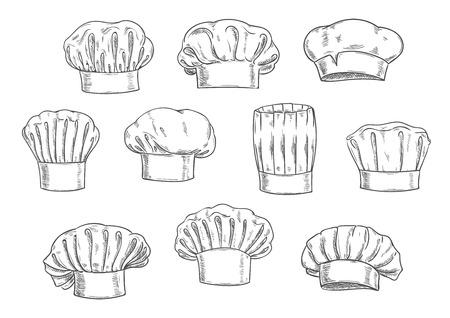 Het geschetste chef hoed, kok pet en toque. Keuken personeel uniform, professionele hoofddeksels voor restaurant, cafe en menu-ontwerp