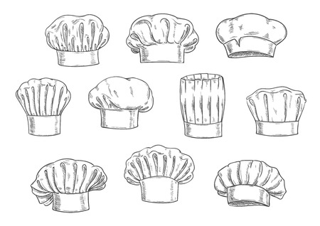 cook cap: Sketched chef hat, cook cap and toque. Kitchen staff uniform, professional headwear for restaurant, cafe and menu design Illustration
