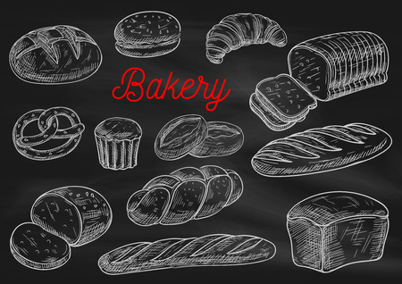 Bakery products chalk sketches on blackboard. Bread, cake, croissant, baguette, hamburger bun, toast, pie, braided bun, pretzel Bakery shop menu chalkboard design