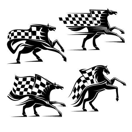 checkered label: Horse with checkered flag. Horse racing emblem. Car races vector icons for sport club, bookmaker signboard, team shield, badge, label