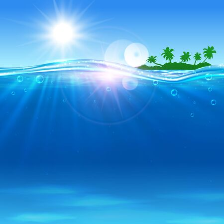 advertisment: Summer travel vector poster. Ocean, tropical palm island, beach, shining sun, water waves. Placard for travel advertisment, agency, flyer, greeting card, hotel resort Illustration