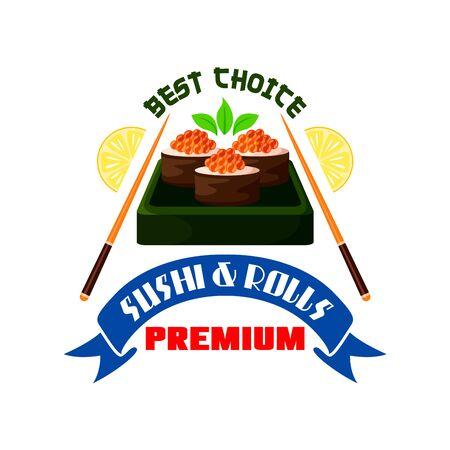 lobule: Japanese premium restaurant emblem. Sushi rolls, red caviar in box, chopsticks, lemon lobule icons. Design for label, menu, sticker, door signboard, poster Illustration