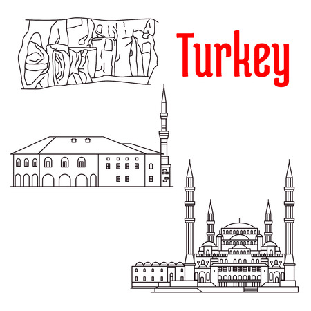 sightseeings: Historic sightseeings and buildings of Turkey. Vector detailed sketch icons of Kocatepe Mosque, Haci Bayram Camii, Kaymakli Underground City. Turkish architecture symbols for souvenirs, postcards