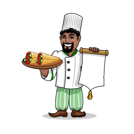 pita bread: Arabian cuisine icon. Arabian Chef in uniform holding menu card template and kebab rolled in pita bread. Vector emblem for restaurant signboard, menu, decoration Illustration