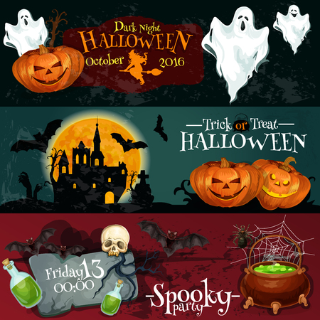 treat: Design for Halloween signboards and posters with vector elements of pumpkin lantern, white flying ghosts, haunted vampire castle with midnight full moon background. Posters text Trick or Treat, Dark Night Spooky Party Illustration