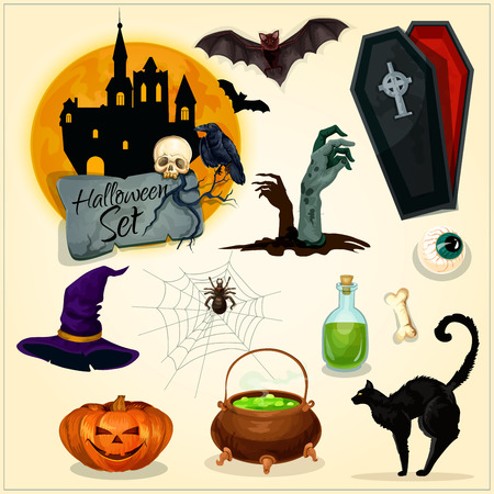 witch hat: Horror decoration elements for Halloween design. Witch hat, magic cauldron, zombie hands on graveyard, haunted castle, vampire coffin, black cat and bats, creepy pumpkin lantern. Vector symbols and icons for greeting card, placard