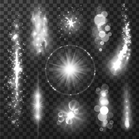 Zilvergrijs sprankelende licht paden en sprankelende glitter. Shining deeltjes en sterretje staarten met lens flare effect op transparante achtergrond Stock Illustratie