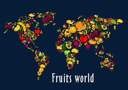 Vruchten wereldkaart aanplakbiljet achtergrond. Vector achtergrond van de wereld continenten fruit iconen watermeloen, druiven, aardbeien, kersen, frambozen, zwarte bessen, ananas, kiwi, abrikoos, mango avocado banaan