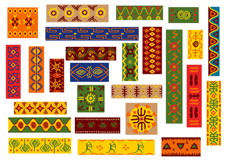African ethnic ornaments with tribal and national patterns of plants, flowers, human, animal. Bright colorful wallpaper with geometric shapes for fabric, textile, tapestry decoration Illustration