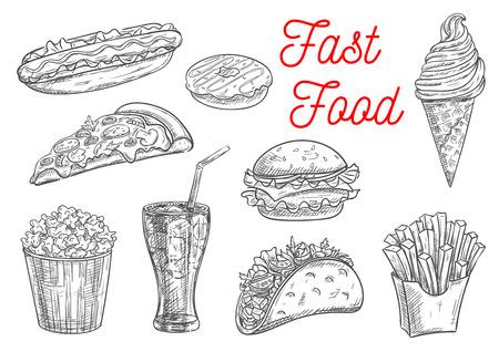 Fast bocados de comida y postres boceto. iconos aislados del vector de perro caliente, buñuelo, hamburguesa, hamburguesa, papas fritas en caja, pizza, palomitas de maíz, cono de helado, tacos, bebidas gaseosas Ilustración de vector
