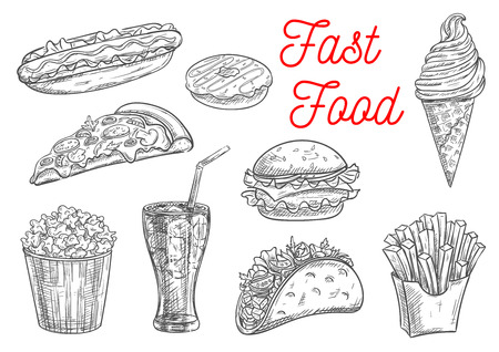 fast food: Fast food snacks and desserts sketch. Isolated vector icons of hot dog, donut, cheeseburger, hamburger, french fries in box, pizza, popcorn , ice cream cone, tacos, soda drink