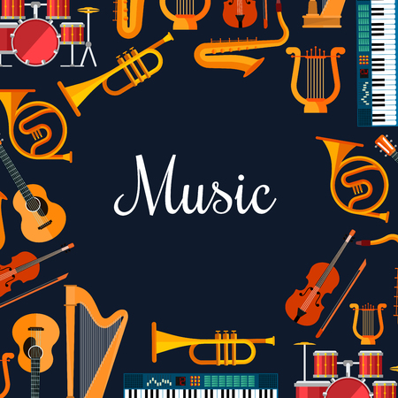 instrumental: Music poster with wind and strings musical instruments. Musical orchestra placard with icons of piano, saxophone, harp, drums, maracas, guitar, violin, trumpet