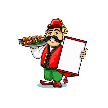 Turkish cuisine icon. Turk chef cook in national clothing holding menu card template and shashlik kebab on dish. Vector emblem for restaurant signboard, menu, decoration Illustration